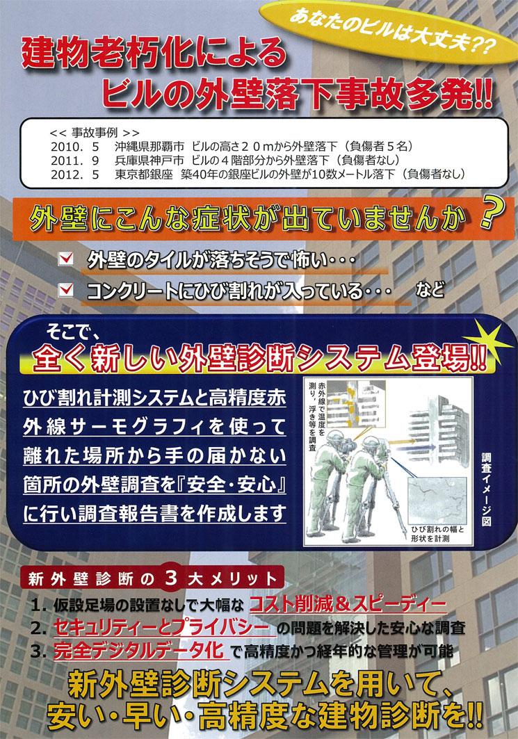 建物老朽化によるビルの外壁落下自己多発!!新外壁診断システムを用いて、安い・早い・高精度な建物診断を!!